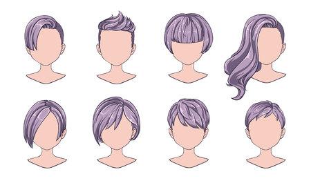 Moderne Mode der schönen Frisurfrau für Sortiment. Graues kurzes Haar, lockige Friseursalonfrisuren und trendiger Haarschnitt-Vektor-Icon-Set isoliert auf weißem Hintergrund. Handgezeichnete Abbildung.