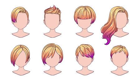 Moderne Mode der schönen Frisurfrau für Sortiment. Ombre kurzes Haar, lockige Friseursalonfrisuren und trendiger Haarschnitt-Vektor-Icon-Set isoliert auf weißem Hintergrund. Handgezeichnete Abbildung.