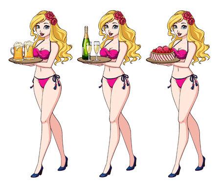 Hübsches Cartoon-Mädchen mit blonden Haaren im rosa Bikini-Badeanzug mit Bier, Champagner und Kuchen.
