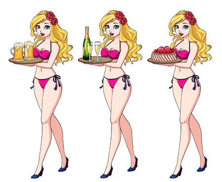 Pretty cartoon girl with blonde hair in pink bikini swimsuit holding beer, champagne and cake.