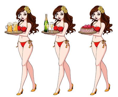 Jolie fille de dessin animé aux cheveux bruns en maillot de bain bikini rouge tenant de la bière, du champagne et du gâteau. Vecteurs