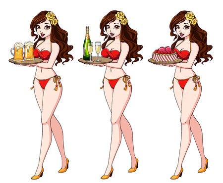 Pretty cartoon girl with brown hair in red bikini swimsuit holding beer, champagne and cake.