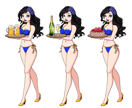 Pretty cartoon girl with black hair in blue bikini swimsuit holding beer, champagne and cake.