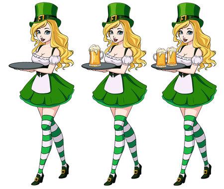 St Patrick s day sexy girls holding beer set. Zdjęcie Seryjne