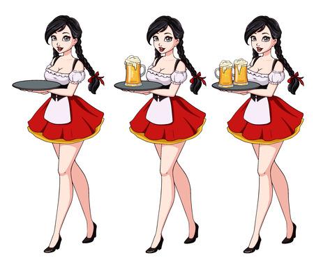 Cartoon illustration with sexy brunette waitress wearing red traditional dress. Zdjęcie Seryjne