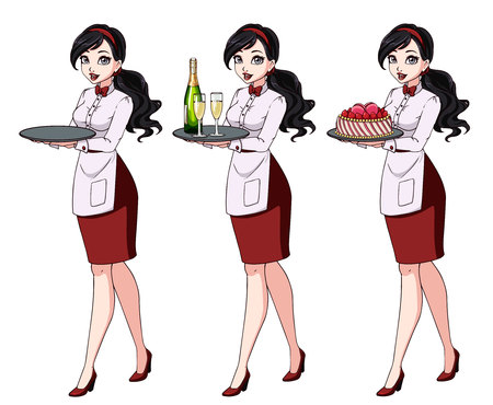 Set of brunette waitresses holding champagne and cake, wearing red uniform. Zdjęcie Seryjne