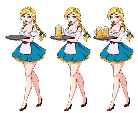 Cartoon illustration with blond waitress wearing blue traditional dress. Zdjęcie Seryjne