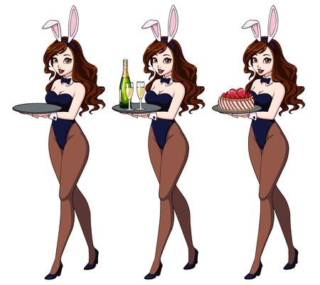 Cartoon sexy pin up bunny girl with champagne and cake. Zdjęcie Seryjne