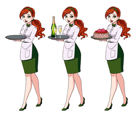 Set of red haired waitresses holding champagne and cake, wearing green uniform. Zdjęcie Seryjne