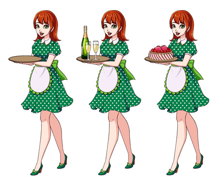 Set of red haired waitresses holding champagne and cake, wearing green dotted maid costume. Zdjęcie Seryjne