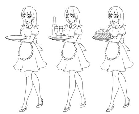 Set of waitresses holding champagne and cake, wearing uniform. Zdjęcie Seryjne
