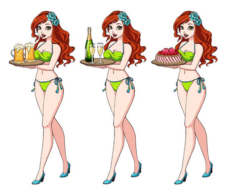 Pretty cartoon girl with red hair in green bikini swimsuit holding beer, champagne and cake.