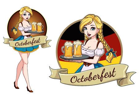 Pretty cartoon girl with beer, Oktoberfest design with space for text, invitation. Zdjęcie Seryjne