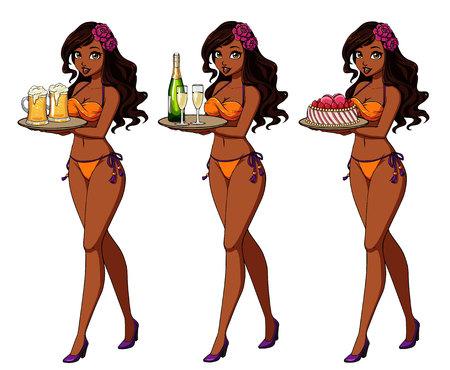Pretty cartoon girl with brown hair in orange bikini swimsuit holding beer, champagne and cake.