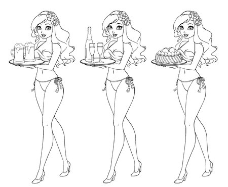 Pretty cartoon girl in bikini swimsuit holding beer, champagne and cake. Hand drawn contour illustration.