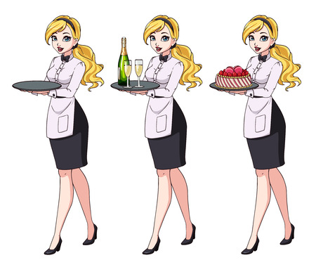 Set of blonde waitresses holding champagne and cake, wearing black uniform.
