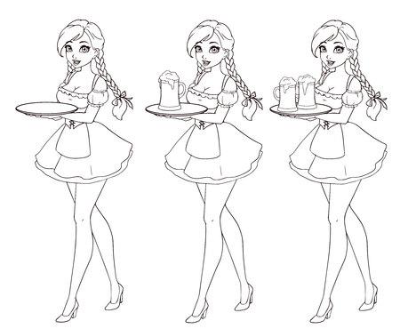 Cartoon sexy waitress holding beer. Hand drawn illustration for Oktoberfest. Zdjęcie Seryjne