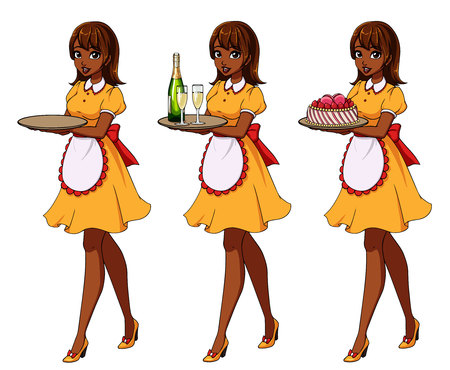 Set of brown haired waitresses holding champagne and cake, wearing yellow maid costume. Zdjęcie Seryjne