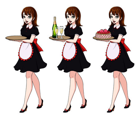 Set of brown haired waitresses holding champagne and cake, wearing black maid costume.