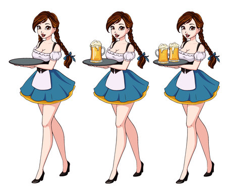 Cartoon illustration with waitress with brown hair wearing blue traditional dress.