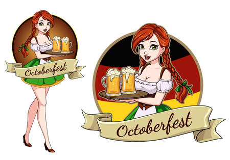 Pretty cartoon girl with beer, Oktoberfest design with space for text, invitation. Vettoriali