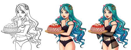 Set of three cute cartoon girls contour art and colored .