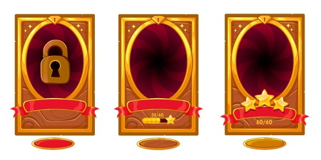 Level background card for mobile game ui design. Victory ribbon witch stars. Ilustracja