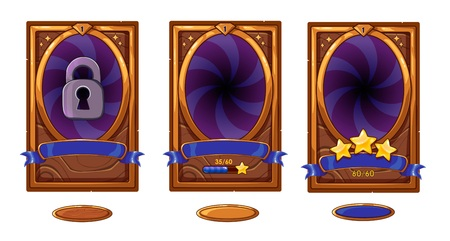 Level background card for mobile game ui design. Victory ribbon witch stars. Buttons set.