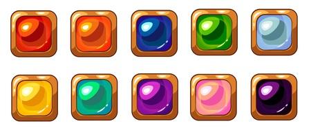 Colorful square gem with golden frame set for mobile game interface design. Ilustracja