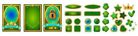 Level background card for mobile game ui design. Victory ribbon witch stars. Buttons set. Isolated on white background. Golden and green colors.