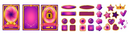 Level background card for mobile game ui design. Victory ribbon witch stars. Buttons set. Isolated on white background. Golden and pink colors. Ilustracja