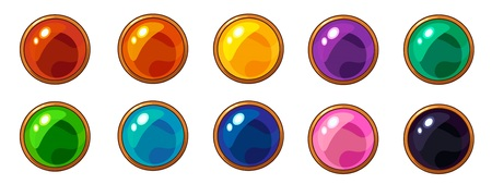 Shiny colorful round gem with golden frame set for mobile game interface design. Isolated on white background.