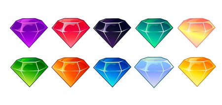 Cartoon gems and diamonds icons set in different colors on  white background.