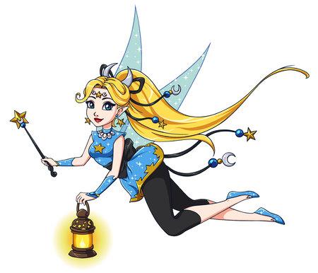 Pretty cartoon fairy holding lantern and magic wand. Blonde hair, blue dress. Moon, stars. Hand drawn vector illustration for kid mobile games, books, t-shirt design template etc. Ilustracja