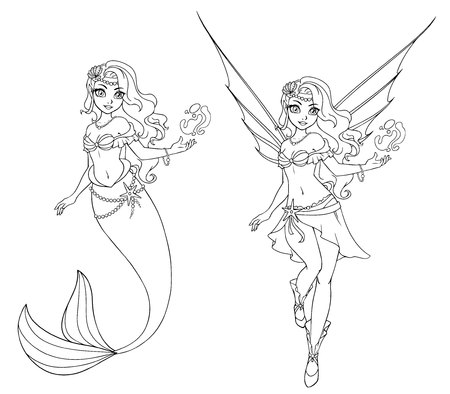 Set of cartoon fairy and mermaid. Outlined for coloring book isolated on a white background. Hand drawn doodle illustration.