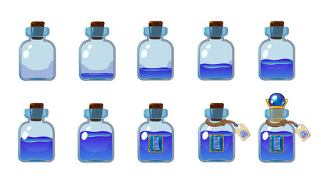 Set of different states of bottle with blue elixir. Illustration for mobile game interface. Isolated on white background.