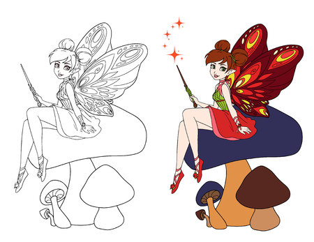 Cute cartoon fairy with butterfly wings sitting on mushroom. Hand drawn vector illustration.  Can be used for children mobile games, coloring books, tattoo, stickers etc.