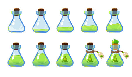 Set of different states of bottle with green elixir and apple. Illustration for mobile game interface. Isolated on white background. Ilustracja