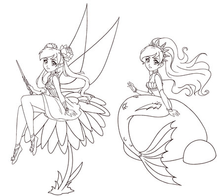 Set of two anime style characters. Mermaid and fairy. Hand drawn vector illustration on a white background for coloring book, tattoo, card, t-shirt template etc.