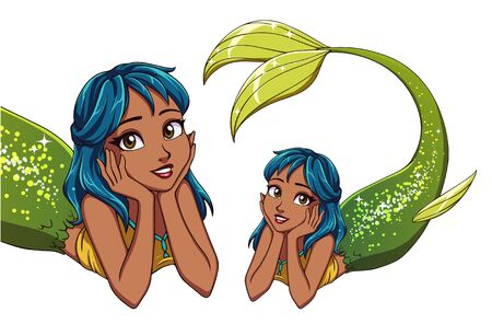 Pretty cartoon lying mermaid. Blue hair and shiny green fish tail.