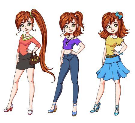 Set von drei süßen rothaarigen Mädchen mit verschiedenen Haarschnitten und Kleidung. Handgezeichnete Cartoon-Illustration. Kann zum Ausmalen von Büchern, Papierpuppen, Handyspielen, Lernen usw. verwendet werden. Vektorgrafik