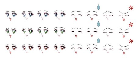 Set of cartoon anime style expressions. Different eyes, mouth, eyebrows.