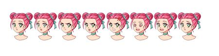 A set of cute anime girl with different expressions. Pink hair, big green eyes.
