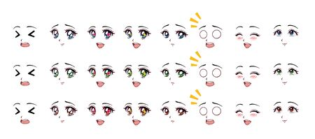 Set of cartoon anime style expressions. Different eyes, mouth, eyebrows. Three different colors red, green, blue. Hand drawn vector illustration isolated on white background. Stockfoto - 132061715