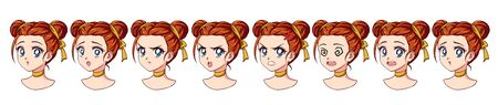 A set of cute anime girl with different expressions. Red hair, big blue eyes. Hand drawn retro anime style vector illustration . Can be used for avatar, mobile games, stickers, badges, prints etc.