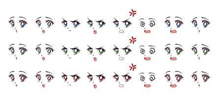 Set of cartoon anime style expressions. Different eyes, mouth, eyebrows. Three different colors red, green, blue. Hand drawn vector illustration isolated on white background.