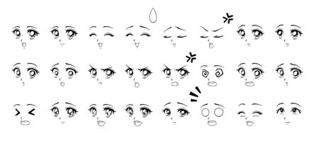 Set of cartoon anime style expressions. Different eyes, mouth, eyebrows. Contour picture for manga. Hand drawn vector illustration isolated on white background. Stockfoto - 132061564