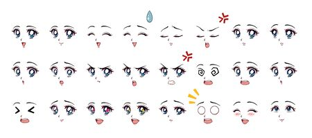 Set of cartoon anime style expressions. Different eyes, mouth, eyebrows. Blue eyes, pink lips. Hand drawn vector illustration isolated on white background. Stock Illustratie
