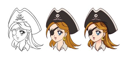 Cute anime pirate girl portrait. Three versions contour, flat colors, cell shading. 90s retro anime style hand drawn vector illustration. Isolated on white background.