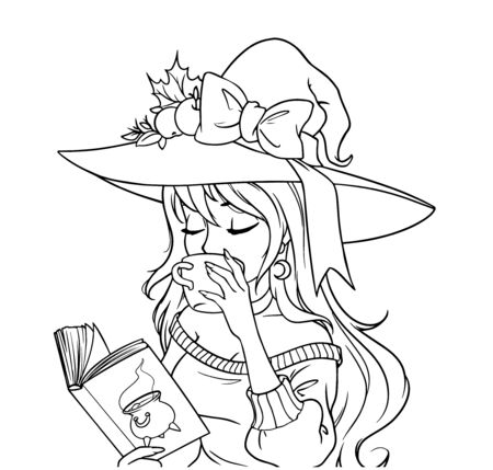 Young witch is drinking coffee and reading the book.